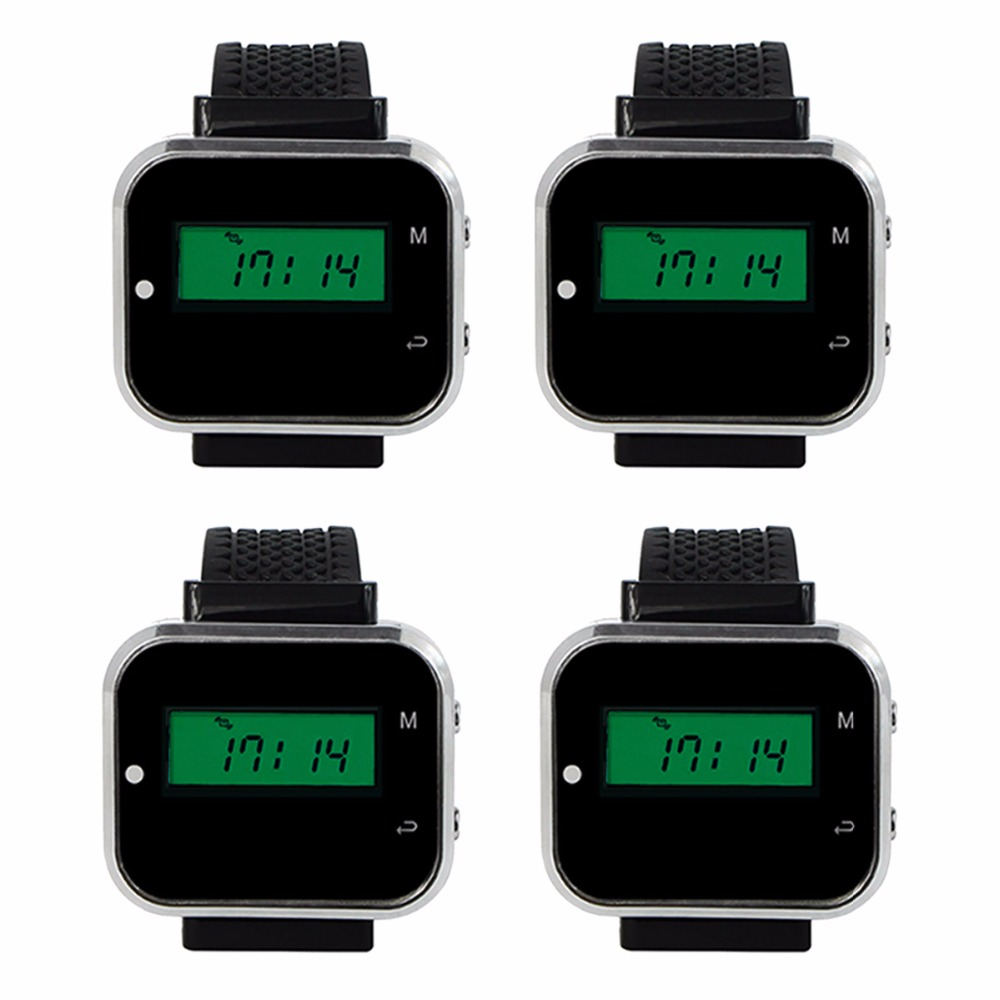 цена на 4pcs 433.92MHz Watch Receiver Call Pager Wireless Waiter Calling System for Restaurant Equipment Bank Factory F3300A