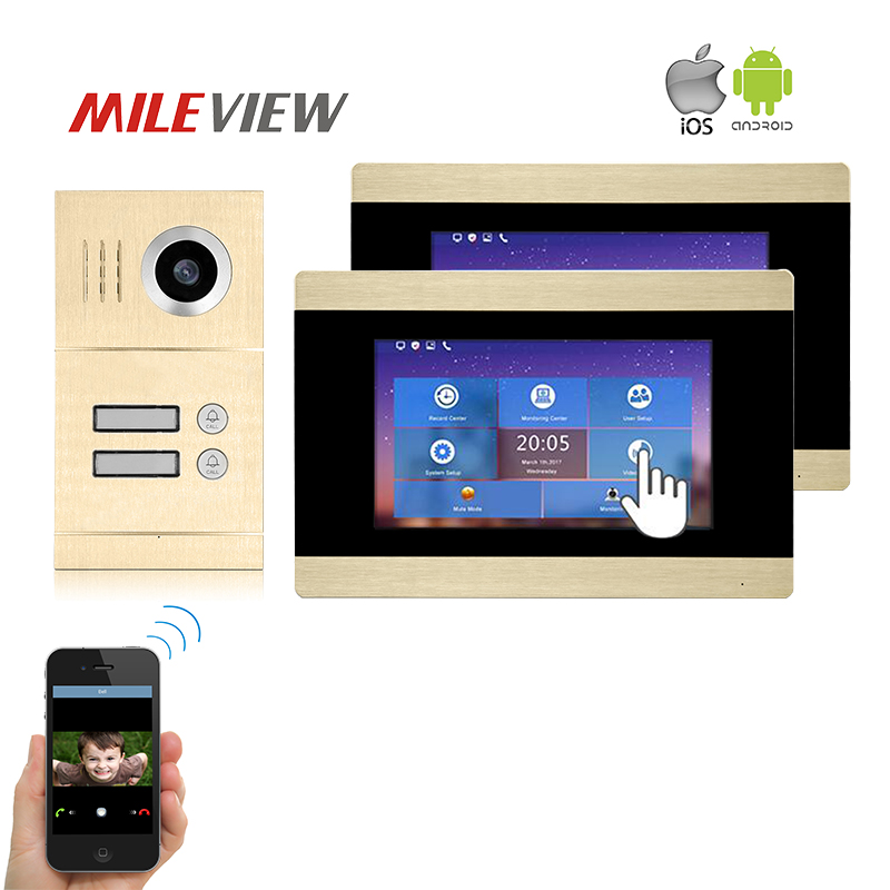 Free Shipping Two Apartment 1.0MP 720P AHD IP WIFI 7 Touch Screen Video Intercom Door Phone Record Kit for Android IOS Phone
