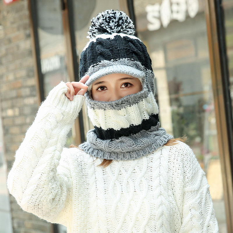 00f24416 Womens Winter Neck Warmer Hat Tuque Visor Beanie Ear Warmer Face Cover  Patchwork Female Hat
