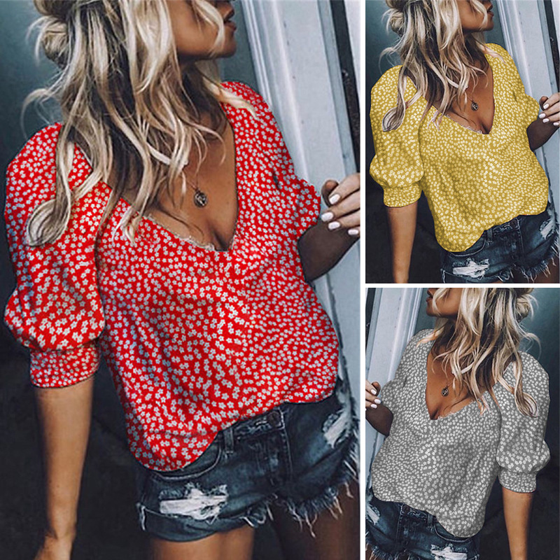 Summer Style Women Casual V-Neck Short Sleeve Tops Loose Flower Printed   Blouse     Shirts