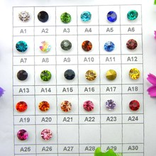 Glass Crystal 9 Sizes Point back nice Colors rhinestone beads Glue on Round shape handimade Craft ornament diy trimming