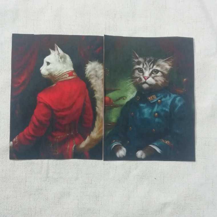 ZENGIA Retro Gentry Cats impreso mano teñida algodón Lino tela tellas costura DIY Patchwork mano bordado colcha bolsas Tecido