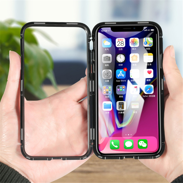 reputable site 57f7a 5fac0 US $8.59 |Magneto Magnetic Adsorption metal case for iphone X iphone 7 8  case luxury tempered glass cover for iphone 8 plus 7 plus coque-in Flip  Cases ...