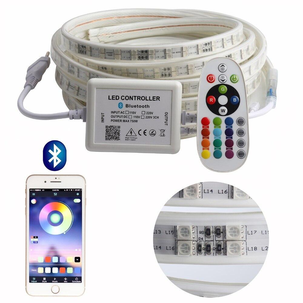 APP e Remoto RGB Tira do DIODO EMISSOR de Luz de Alto Brilho 220 V Tira CONDUZIDA impermeável 220 V 120 leds/m fita fita ledstrip SMD5050 IL