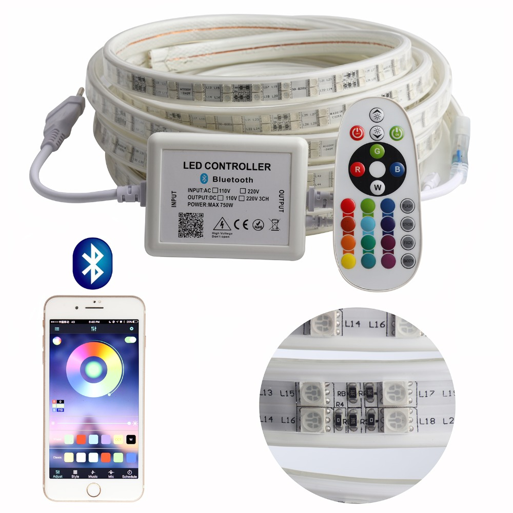 APP and Remote RGB LED Strip Light High Brightness 220V LED Strip waterproof 220 V 120 leds/m SMD5050 ribbon tape ledstrip IL