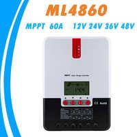Mppt 60a carregador solar controlador 12 v 24 v 36 v 48 vauto chumbo ácido gel lítio íon controlador de carga para max 150 v painel solar entrada