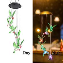 Color Change Solar Wind Chime Light Lamp Hummingbird Waterproof Outdoor LED For Home Party Garden Yard
