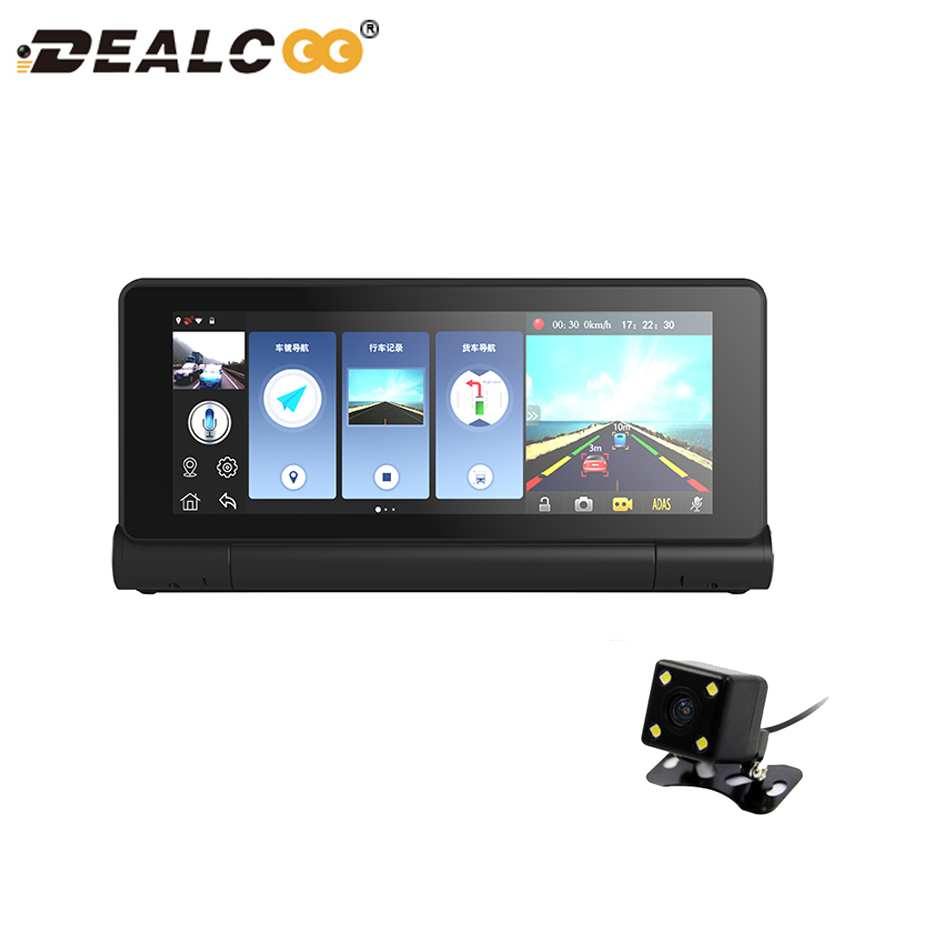 Dealcoo 7 Car GPS DVR Camera Android 4.4 wifi Dual Lens Full HD 1080P Video Recorder with Rearview Camera Registrar Dash Cam e ace car dvr android touch gps navigation rearview mirror bluetooth fm dual lens wifi dash cam full hd 1080p video recorder