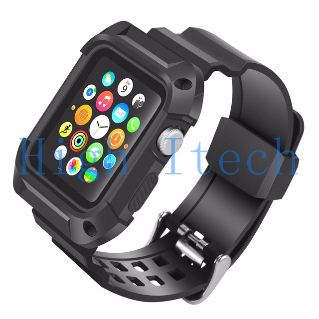 buy popular d5f63 3182f US $7.19 10% OFF|Shockproof Rugged Protective Case with Black Band Straps  for Apple Watch 42mm Series 2 Series 1 without Screen Protector-in ...