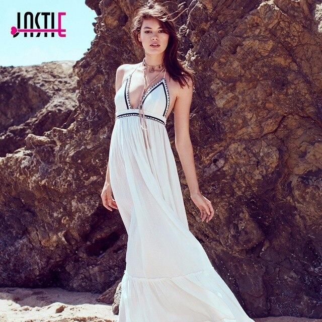 b3b8aca4be0e Jastie Love Shakin  Maxi Dress Embroidered Waist V-Neck Sexy Dress Backless  Halter Neck