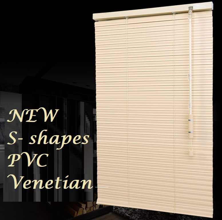 High Quality 1''  25mm  S Shape Slat PVC Venetian Horizontal Blinds Curtain Customized Sizes
