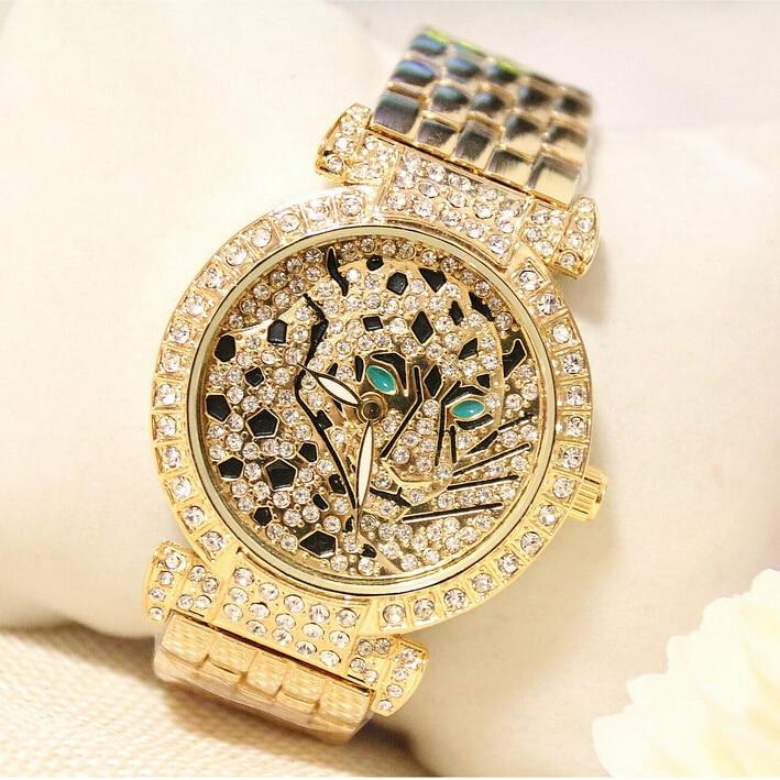 Luxury Women Rhinestone Watches Lady Diamond Dress Watch Stainless Steel Band Leopard Bracelet Wristwatch Ladies Crystal Watch