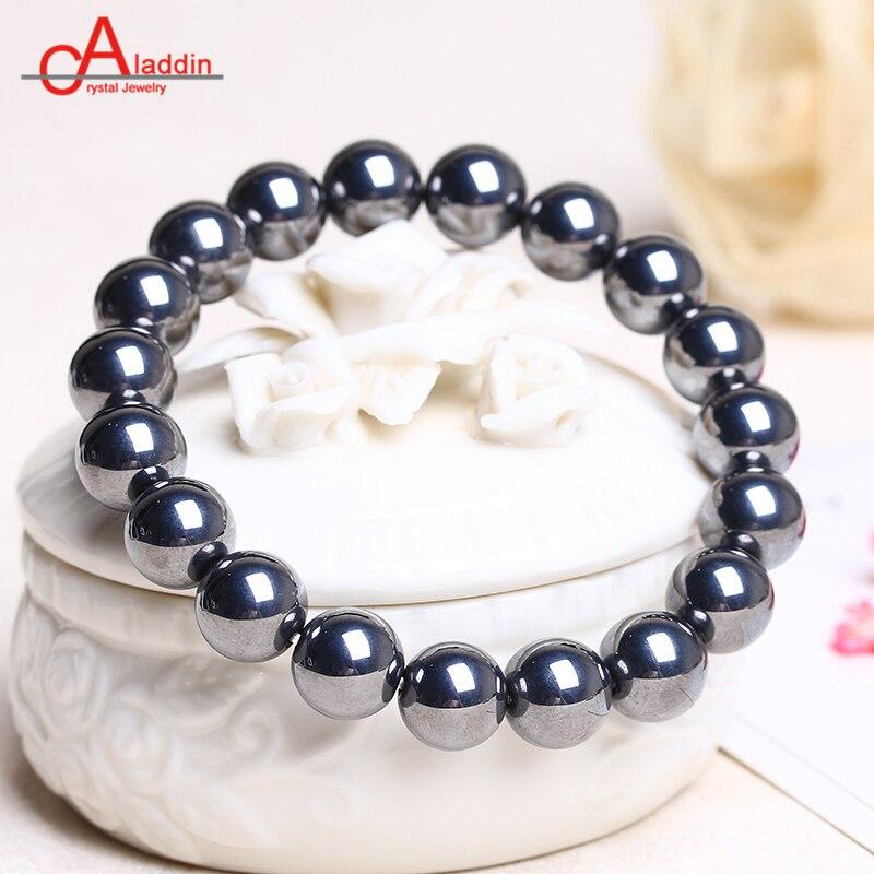 Aladdin Natural Terahertz health bracelet round bead Hand string Energy magnet Stone Radiation protection Black gallstone