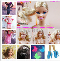Free shipping,Best Girl Gift Christmas Gift doll + accessories(clothes+shoes+bags+sunglass+jewelries) For Barbie Doll