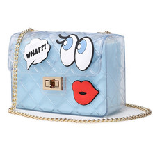 2016 Summer Girls Big Eye Lips Print Transparent Jelly Bag Women Chain Silicon Flap Bag Lady Candy Boutique Tote Crossbody Bags pinapple print flap crossbody bag