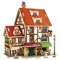 Casa de madeira 3d puzzle modelo de madeira diy crianças brinquedo frança estilo francês café casa do enigma para crianças presente de natal aniversário