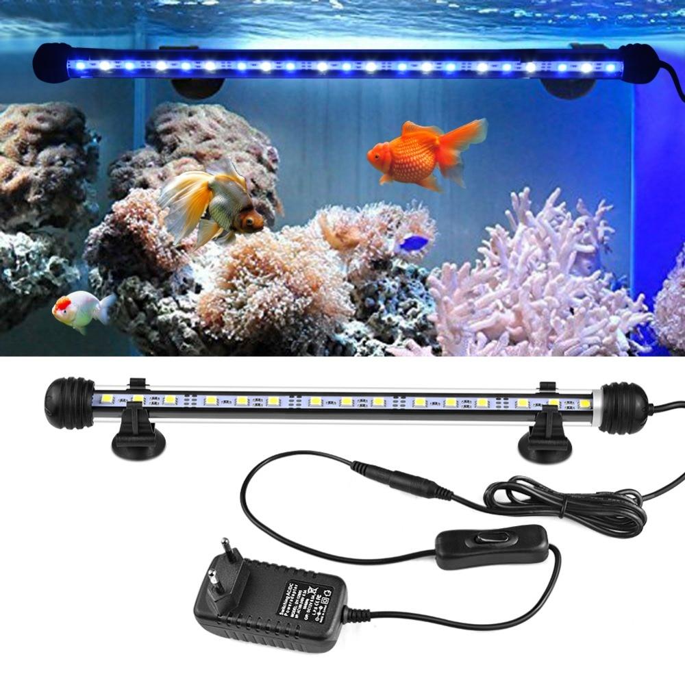 LED Aquarium Fish Tank Light 220V EU Plug Underwater Bar Lights White Blue RGB LED Lamp Fish Lightings 19cm 29cm 39cm 49cm