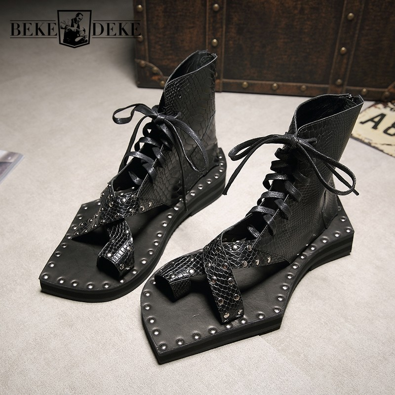 Genuine Leather Snakeskin Runway Casual Sandals Ankle Boots Geometric Shape Sole Chunky Mens Shoes Vintage Gladiator Sandals