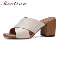 Meotina Genuine Leather Sandals Shoes Women High Heel Slides Mules Shoes Real Leather Shoes Summer Slippers