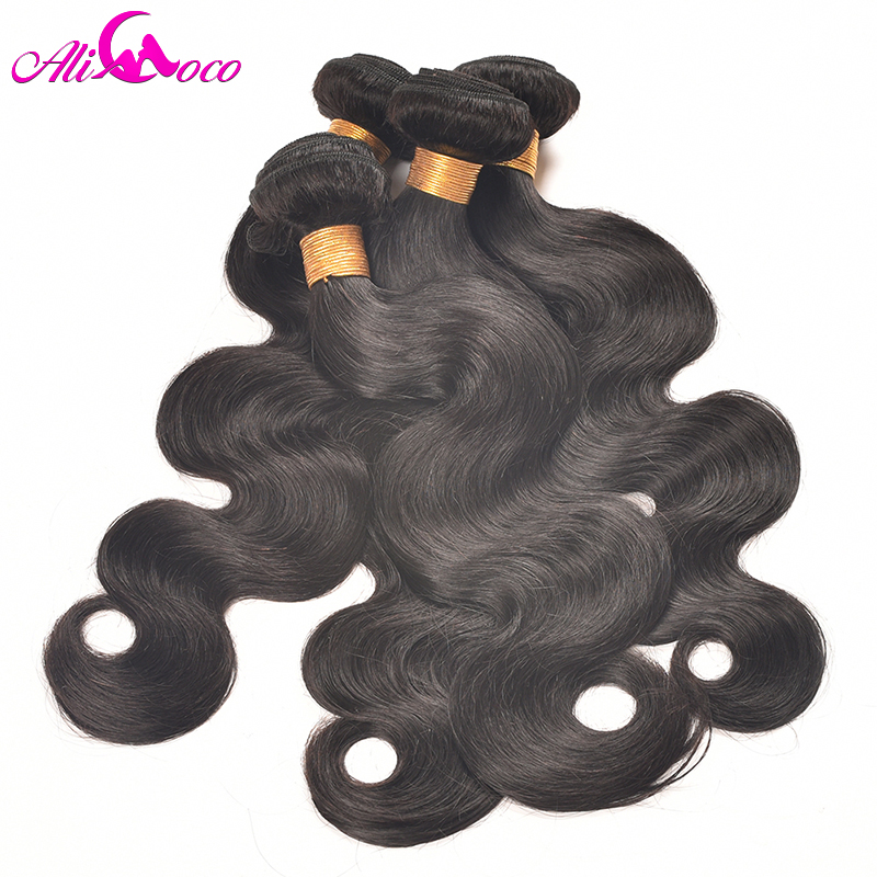 Ali Coco Peruvian Body Wave 4PC/lot 100% Human Hair Extension Natural Color/#2/ 1/4/27 Bundles Hair Weave Non Remy Pervian Hair