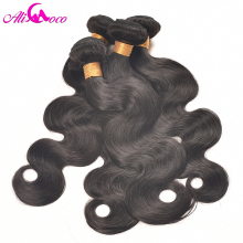 "Ali Coco Hair Peru Wave Body Human Hair Bundles Natural Color ""10-28"" inch"