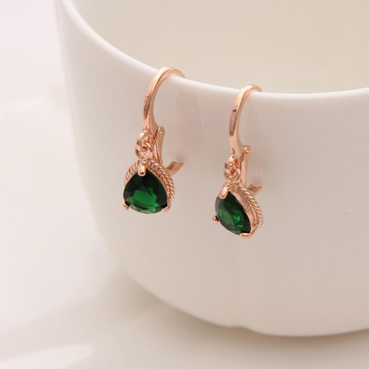 Gold Color Earrings Green Water Drop CZ Stone Pierced Dangle Earrings Women/Girls Long Drop Earrings fashion jewelry 13