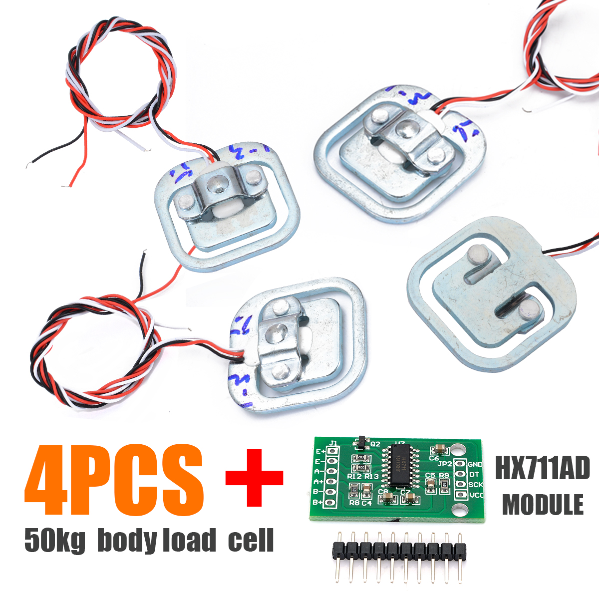 4pcs/set 50KG Human Scale Body Load Cell Resistance Strain Weight Sensor + HX711 AD Module Pressure Sensors Measurement Tools