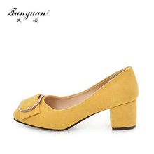 купить fanyuan High Heels Women Shoes Pumps Crystal Shoes Spring Thick Heels Slip On Round Toe Ladies Shoes Yellow Plus Size 34- 43 по цене 1625.02 рублей