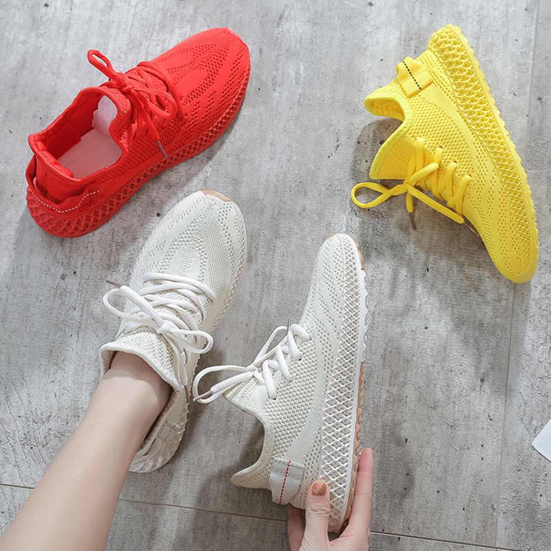 2019 Yeni Moda Sarı Beyaz Kırmızı Ayakkabı Kadın Ayakkabı Yaz Sonbahar Örgü Ayakkabı Platformu Tenis spor ayakkabılar sapatos feminino