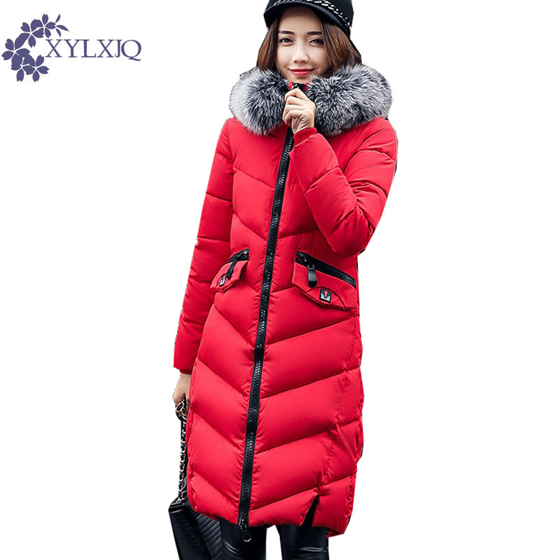 XYLXJQ 2017 New Cotton-Padded Jacket Women Winter Fashion Long Coat Slim Parkas Big Zipper Fur Collar Warm Hooded Coats HD006 2017 free shipping new autumn winter long down big fur coat padded slim women fashion high street coats