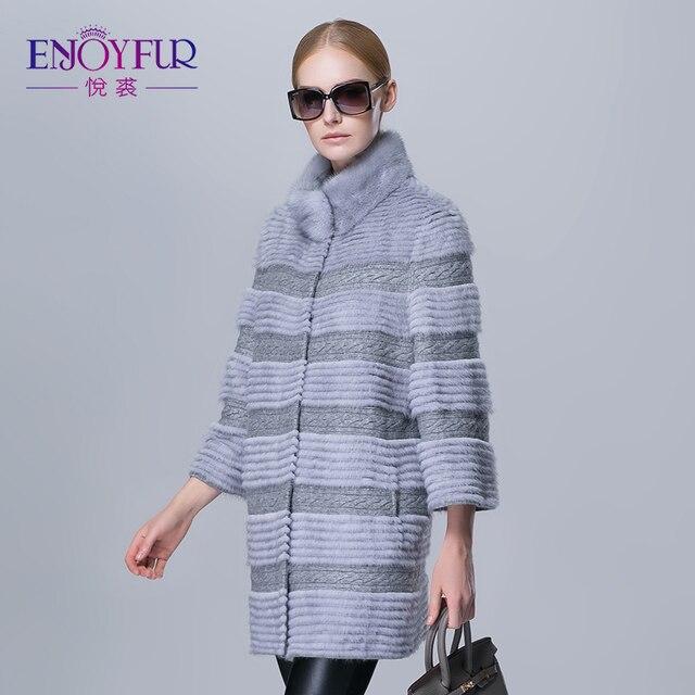 Зима женщины норки пальто настоящее натурального меха полосы верхней одежды женщина долго теплый меховой моды куртка хорошее качество шерсти пальто