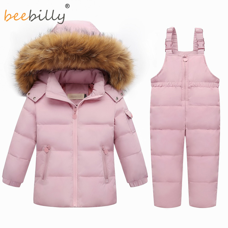Winter Warm Children's Clothing Sets Real Fur Baby Girl Snowsuit Kids Ski Suit Set Toddler Boy's Down Jackets for Baby +pants winter baby boy girl white duck down jackets shoes set toddler tracksuit infant kids rompers baby clothing sets for christmas
