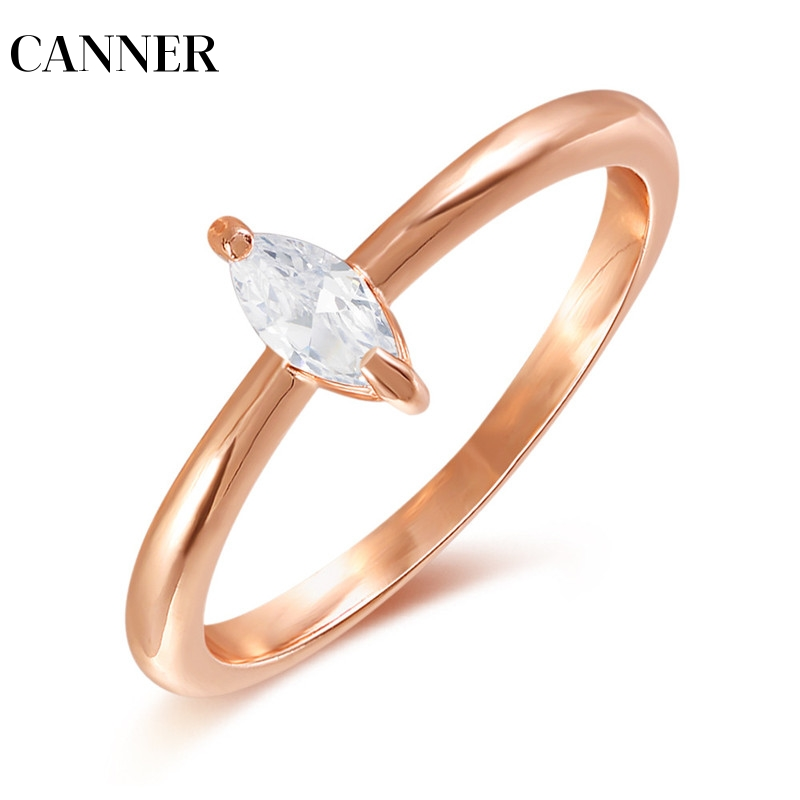 Canner Delicate Single Stone Aaa+ Cubic Zirconia Simple Prong Setting Cz Design Dainty Stunning Girl Women Rose Gold Ring R4