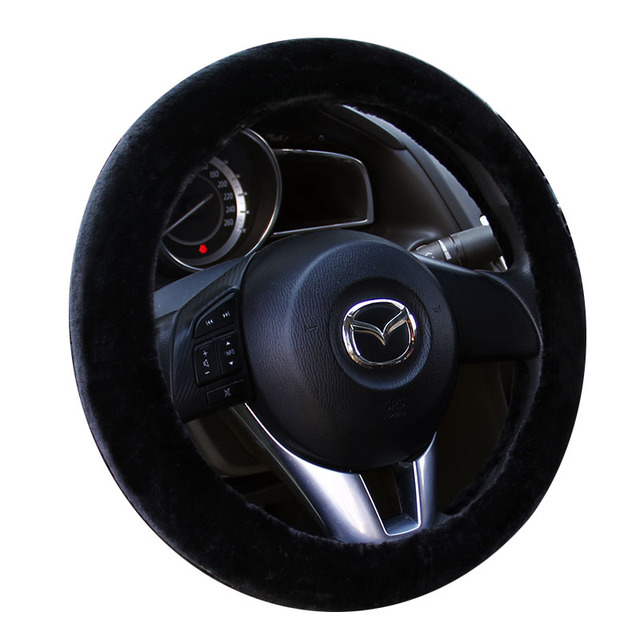 2017 brand new keep warm artificial plush fur car steering wheel covers size 38cm fit for most cars used in winter hot wheel hub