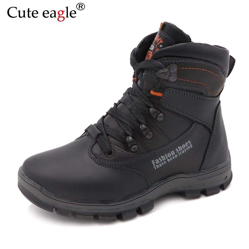 Cute Eagle Winter Boys Genuine Leather Boots New Warm Wool Snow Boots Kids Outdoor Children Genuine Leather Boots EU Size 32-37