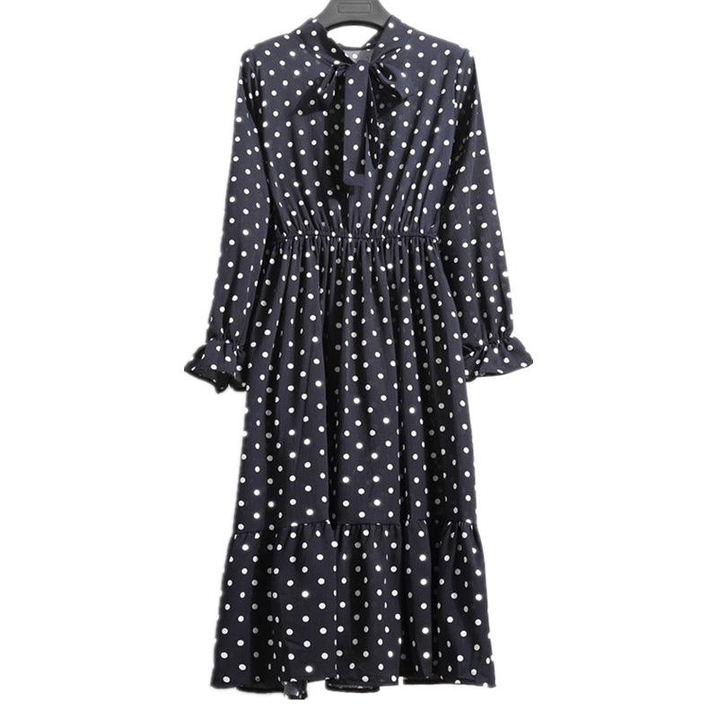 Floral Chiffon Dress Women Autumn Vestidos Fashion Bow Tie Neck Ruffle Long Sleeve Midi Dress Vintage Casual Print Party Dresses in Dresses from Women 39 s Clothing