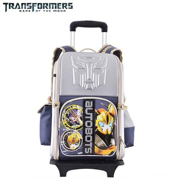 Transformers cartoon trolley wheels school books children kids bag rolling  backpack detachable for boys grade class 342faf1035cd8