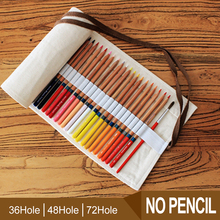 36/48/72 Holes Pencil CaPortable Canvas Roll Up Pencil Wrap Students Stationary Storage Bag For Painting School Supplies цена и фото