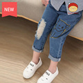 2016 Korean Girls Denim Pants / Spring Models Cartoon Children'S Trousers Pencil Pants Feet Prints