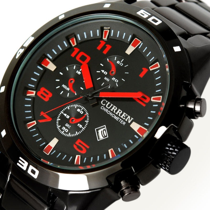 menu0027s fashion casual watch military master date red black dial stainless steel e luxury sport quartz