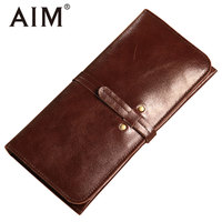 AIM Vintage Genuine Leather Mens Thin Wallet Big Capacity Male Fashion Id Card Case Men Slim