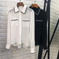 Women elegant black white real silk chiffon blouse shirts chains collar small pockets long sleeve office lady tops new 2019