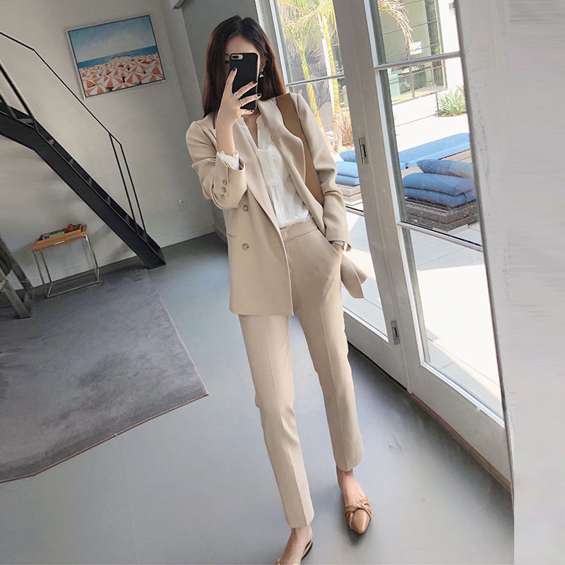 Women Two Piece Outfits Suit Female Spring And Autumn Fashion Temperament Slim OL Professional Solid Color Suit