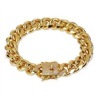 Mens Gold Cuban Link Bracelet HipHop Golden With Cubic Zirconia Stones Bracelets Best Gift