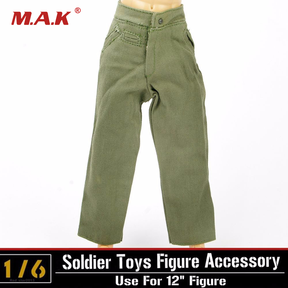 Male Green Pants Trousers Model Toys 1/6 Scale WWII German Soldier Man Clothing Model For 12 Action Figure Body Accessory
