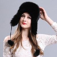 New ricci signore bomber cappello di pelliccia di volpe caldo di Spessore moda inverno pelliccia di alta qualità femminile cappelli bomber