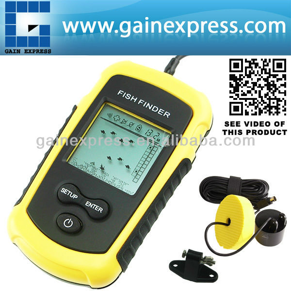 Portable LUCKY Sonar LCD Fish Finder Alarm 100M Beam Transducer AP Ice Fishing 12M Cable Detects Weeds Grass Rock lucky ice star