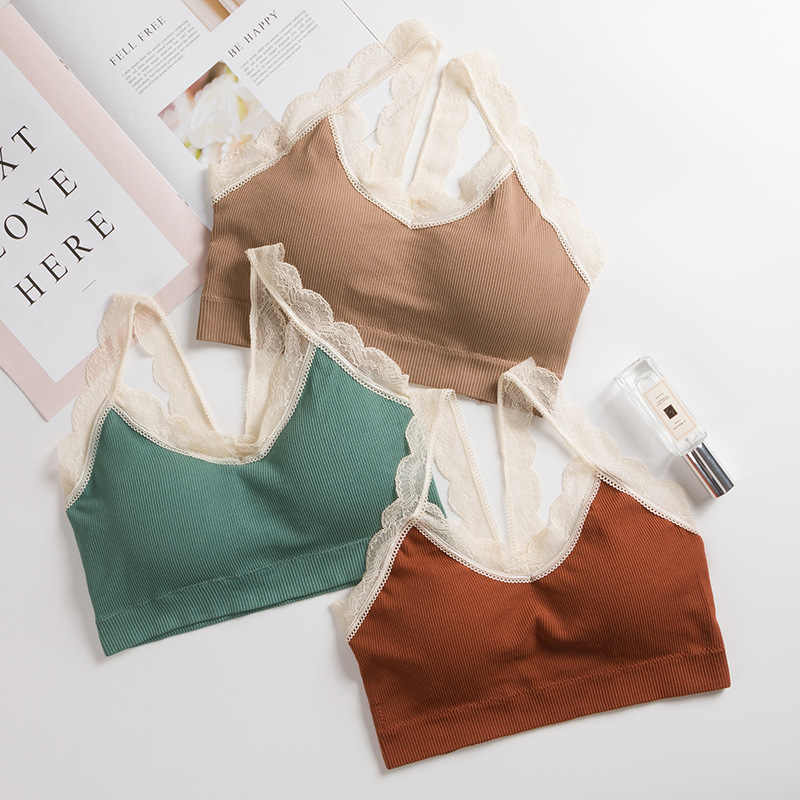 Women Lace Bra Female Lace Strap Top Bra Summer Ladies Cotton Slim Camis Tops