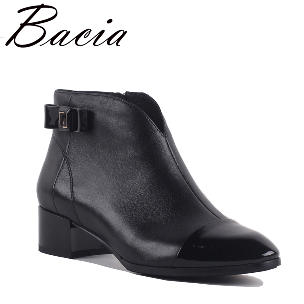 Bacia New Women High Heels Ankle Boots Genuine Leather Shoes Short Plush Inside Sheepskin Autumn Fashion Black Botas SA072 bacia women high heels ankle boots genuine leather shoes warm short plush inside autumn fashion pure black botas mc023