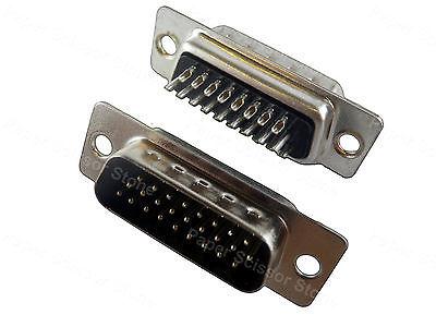 2Pcs DB26 DB-26 DB26M 26 pin 3 Row D-SUB DSUB Male Soldering Connector 163a16619x[d sub high density connectors 44p dsub plug strt mr li